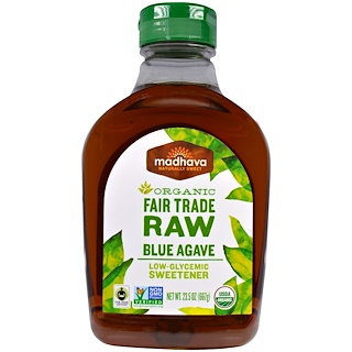 Madhava Natural Sweeteners, Organic Fair Trade Raw Blue Agave, 23.5 oz (667 g)