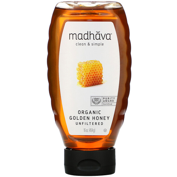 Madhava Natural Sweeteners, عسل ذهبي عضوي، غير منقى، 16 أونصة (454 جم)