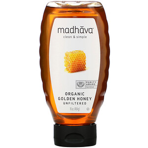 Madhava Natural Sweeteners, Organic Golden Honey, Unfiltered , 16 oz (454 g)