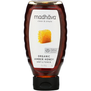 Madhava Natural Sweeteners, 有機琥珀蜂蜜,未過濾,16 盎司(454 克)