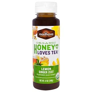 Madhava Natural Sweeteners, Organic Honey Loves Tea, Lemon Ginger Zest, 12 oz (340 g)
