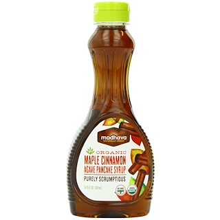 Madhava Natural Sweeteners, Organic Maple Cinnamon Agave Pancake Syrup, 11.75 fl oz (347 ml)