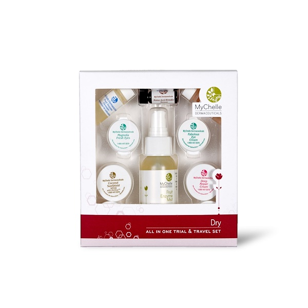 MyChelle Dermaceuticals, All In One Travel and Gift Set, Dry, 11 Piece Kit (Discontinued Item)