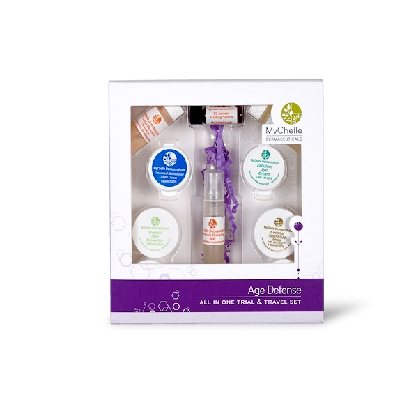 MyChelle Dermaceuticals, Age Defense, All In One Trial & Travel Set, 11 Piece Kit (Discontinued Item)
