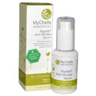 MyChelle Dermaceuticals, ペプチド+抗しわセラム, オール/コンビネーション, セラムステップ3, 1液量オンス (30 ml)