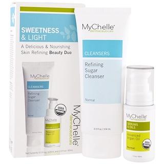 MyChelle Dermaceuticals, 유기농, 스위트니스 앤 라이트 키트, 정제 설탕 클린저, 고급 아르간 오일, 제품 2 개, 3.5 fl oz (104 ml), 1.0 fl oz (30 ml)