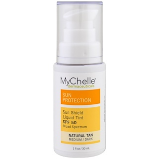 MyChelle Dermaceuticals, Sun Shield Liquid Tint, SPF  50, Natural Tan, 1 fl oz (30 ml)
