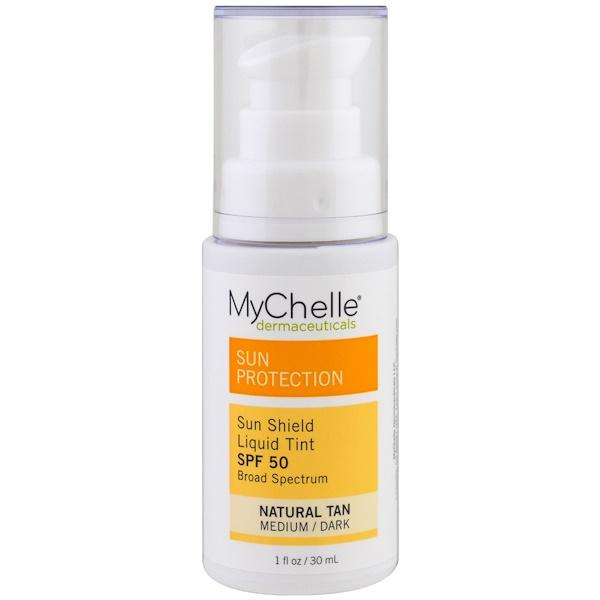 MyChelle Dermaceuticals, 色彩防嗮噴霧,SPF 50,天然褐色,1液盎司(30毫升)