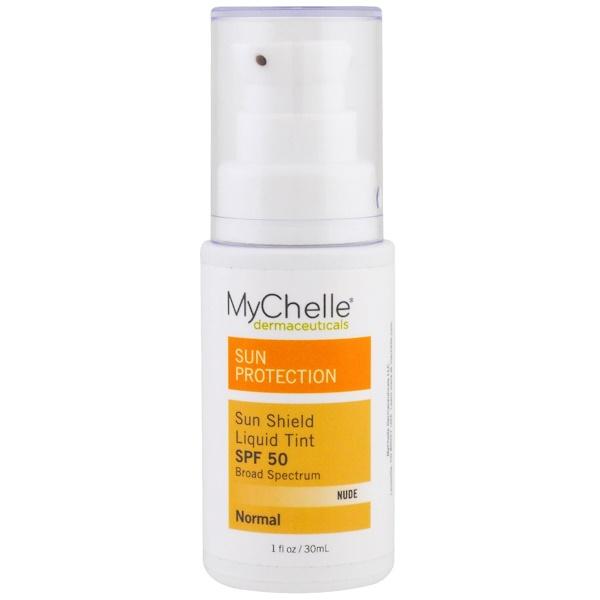 MyChelle Dermaceuticals, Sun Shield Liquid Tint SPF 50, Normal, Nude, 1 fl oz (30 ml) (Discontinued Item)