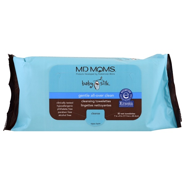 MD Moms, Baby Silk, Cleansing Towelettes, 80 Wet Towelettes, 7 in x 8 in