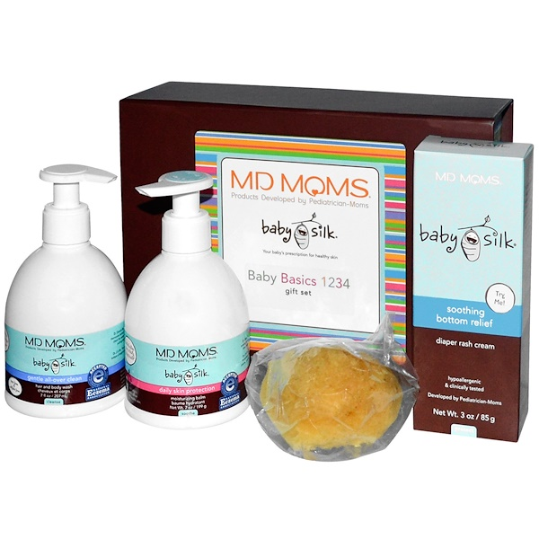 MD Moms, Baby Silk, Baby Basics 1234 Gift Set, 4 Pieces (Discontinued Item)