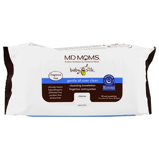 MD Moms, Baby Silk, Cleansing Towelettes, Fragrance Free, 80 Wet Towelettes