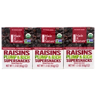 Made in Nature, Organic Dried Fruit, Raisins, 6 Pack, 1.5 oz (42 g) Each
