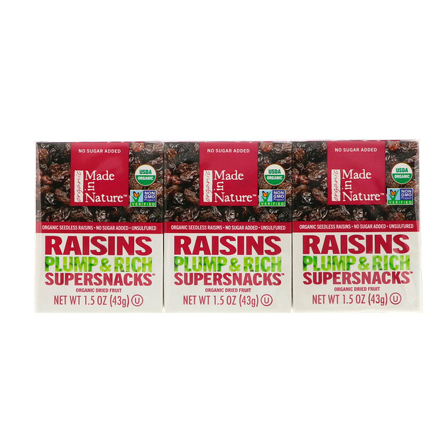 Made in Nature, Organic Dried Raisins, Plump & Rich Supersnacks, 6 Pack, 1.5 oz (42 g) Each