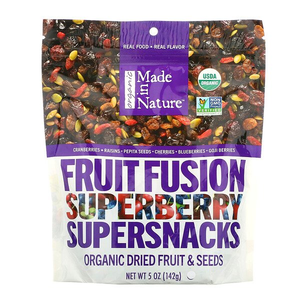 Made in Nature, Superaperitivos orgánicos de fusión de fruta con superbayas, 5 oz (142 g)