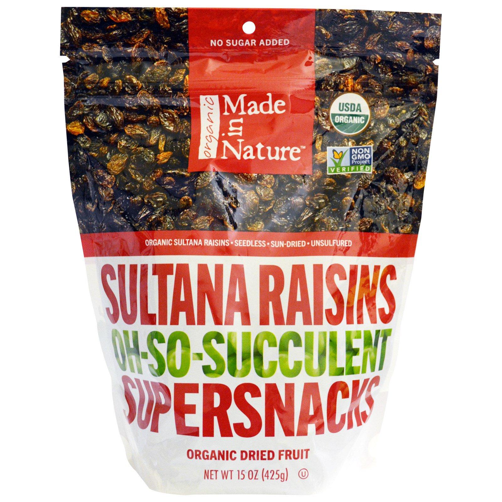 Made in Nature, Сочный органический изюм Sultana, суперзакуска, 15 унций (425 г)