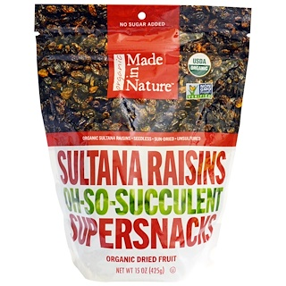 Made in Nature, Organic Sultana Raisins Oh-So-Succulent Supersnacks, 15 oz (425 g)