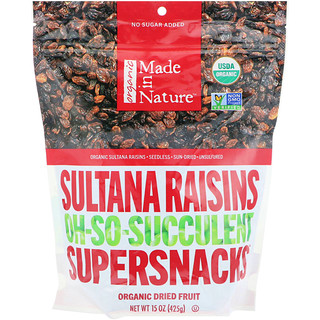 Made in Nature, Organic Dried Sultana Raisins, Oh-So-Succulent Supersnacks, 15 oz (425 g)