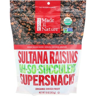 Made in Nature, Organic Sultana Raisins, Oh-So-Succulent Supersnacks, 15 oz (425 g)