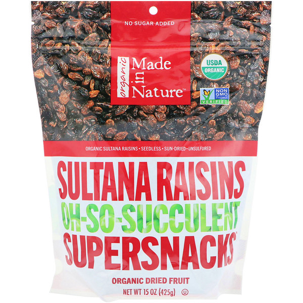 Made in Nature, オーガニックスルタナレーズン、Oh-So-Succulent Supersnacks、15 oz (425 g)