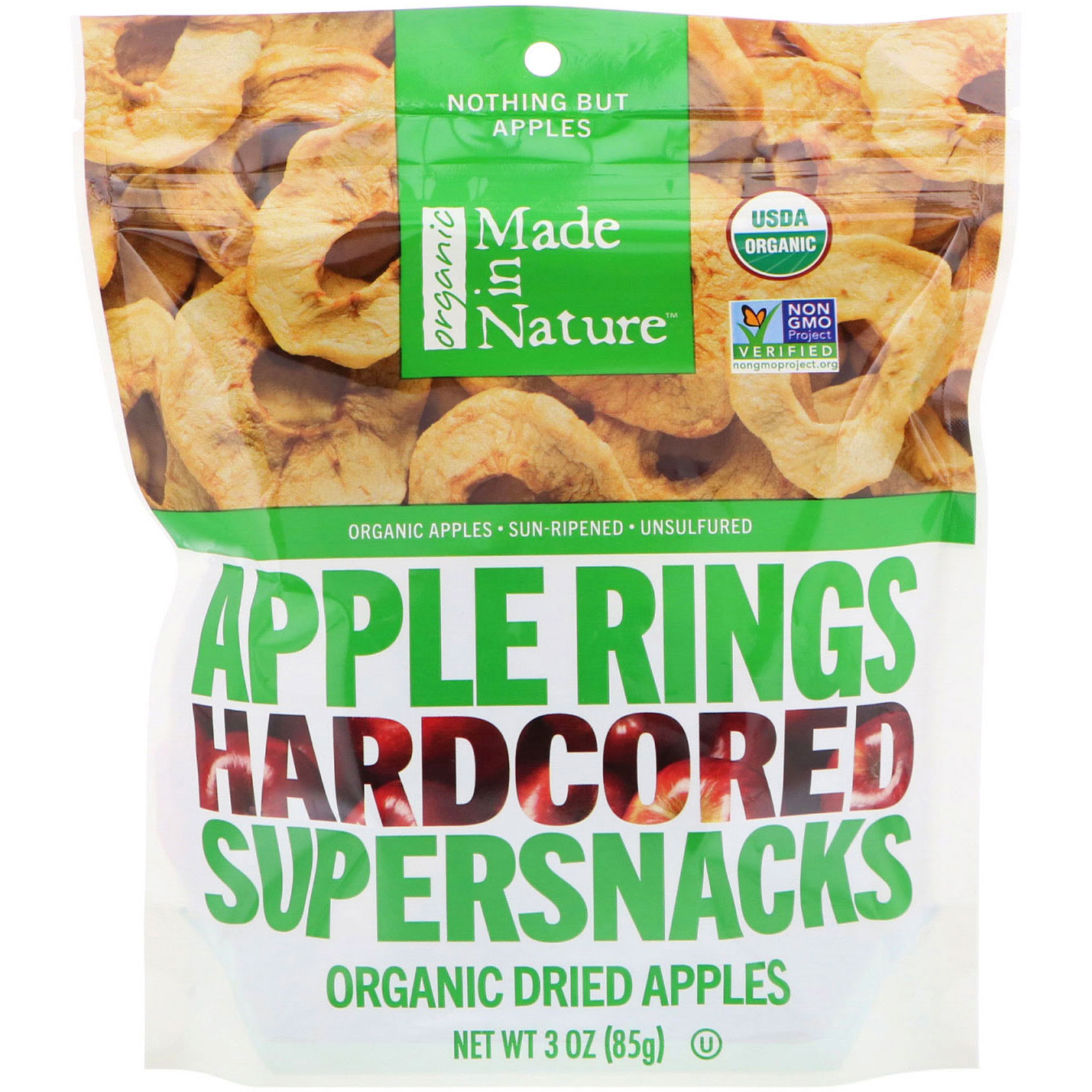 0cc37b1737b Made in Nature, Organic Dried Apple Rings, Hardcored Supersnacks, 3 oz (85  g)