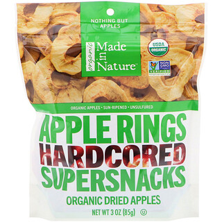 Made in Nature, Organic Dried Apple Rings, Hardcored Supersnacks, 3 oz (85 g)