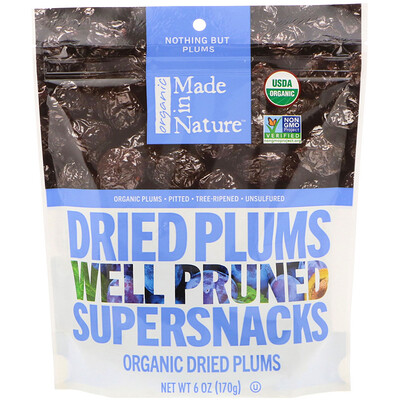 Купить Made in Nature Органические сушеные сливы, суперзакуска из чернослива, 170 г (6 унций)