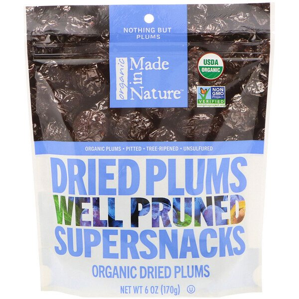 Organic Dried Plums, Well Pruned Supersnacks, 6 oz (170 g)