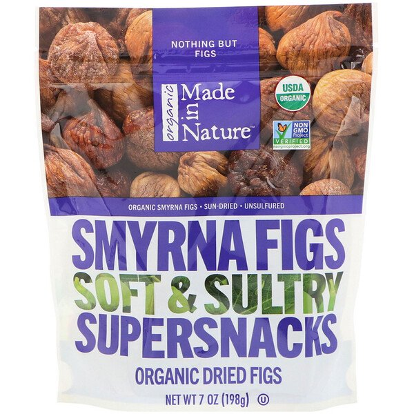 Organic Dried Smyrna Figs, Soft & Sultry Supersnacks, 7 oz (198 g)
