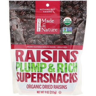 Made in Nature, Organic Dried Raisins, Plump & Rich Supersnacks, 9 oz (255 g)