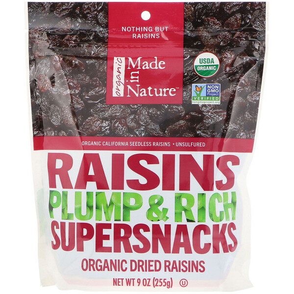 Organic Dried Raisins, Plump & Rich Supersnacks, 9 oz (255 g)