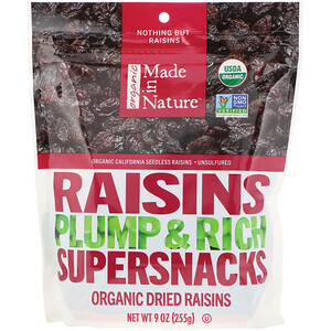 Маде ин натуре, Organic Dried Raisins, Plump & Rich Supersnacks, 9 oz (255 g) отзывы покупателей