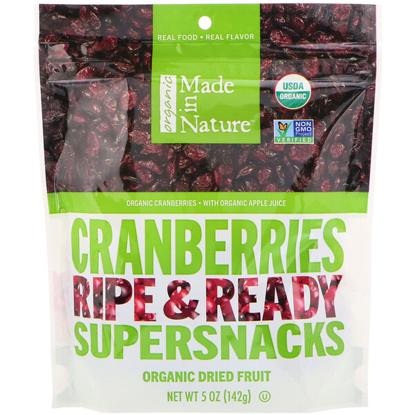 Made in Nature, Organic Dried Cranberries, Ripe & Ready Supersnacks, 5 oz (142 g)
