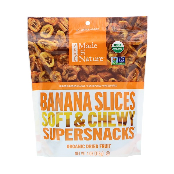 Made in Nature, Organic Banana Slices, Soft & Chewy Supersnacks, 4 oz (113 g)