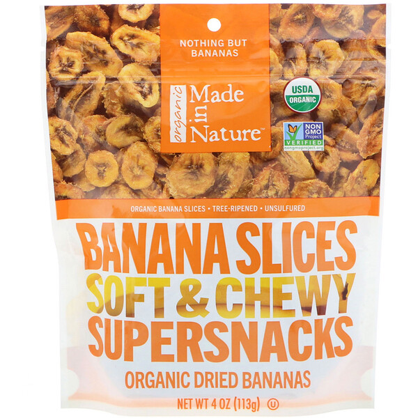 Organic Dried Banana Slices, Soft & Chewy Supersnacks, 4 oz (113 g)