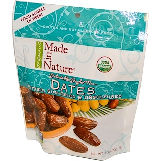 Made in Nature, Organic Dates, Pitted, Sun-Dried & Unsulfured, 6 oz (170 g)
