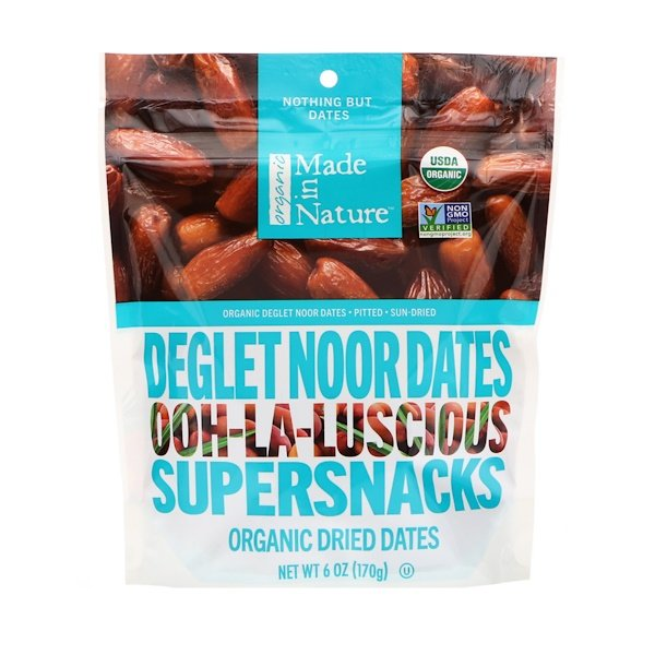 Made in Nature, Organic Deglet Noor Dates, Ooh-La-Luscious Supernacks, 6 oz (170 g)
