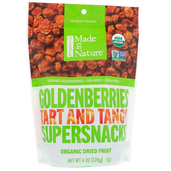 Made in Nature, Organic Dried Goldenberries, Tart and Tangy Supersnacks, 6 oz (170 g) (Discontinued Item)