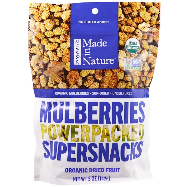 Made in Nature, Organic Dried Fruit, Mulberries, 5 oz (142 g) (Discontinued Item)