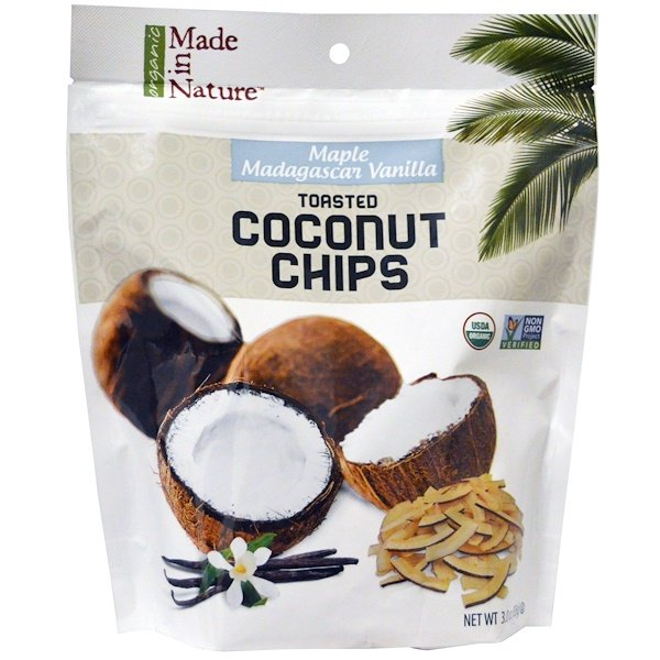 Made in Nature, Organic Toasted Coconut Chips, Maple Madagascar Vanilla, 3.0 oz (85 g)
