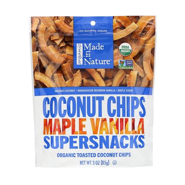 Made in Nature, 有機椰子片,楓糖香草超級零食,3 盎司(85 克)