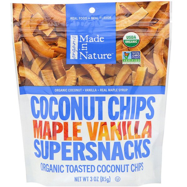 عضوي، Coconut Chips Maple Vanilla Supersnacks، مقدار 3 أوقيات (85 غرام)