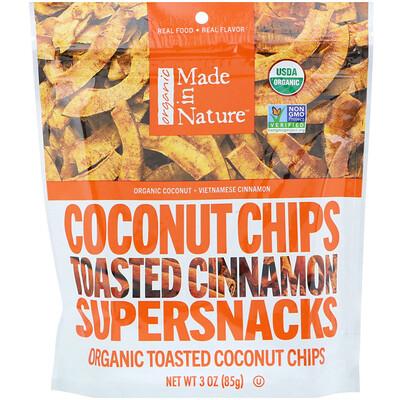 Органические кокосовые чипсы, поджаренные суперснеки с корицей, 85 г (3 унции) органические леденцы дерзкий лимон 93 6 г 3 3 унции
