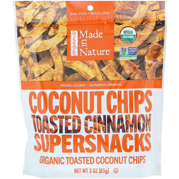 Organic Coconut Chips, Toasted Cinnamon Supersnacks, 3 oz (85 g)