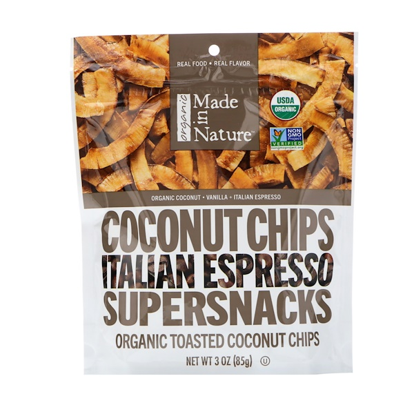 Made in Nature, Organic Toasted Coconut Chips, Italian Espresso Supersnacks, 3.0 oz (85 g) (Discontinued Item)