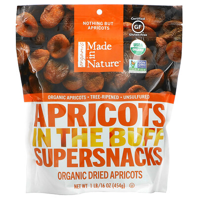 Made in Nature Organic Dried Apricots, In The Buff Supersnacks, 1 lb (454 g)