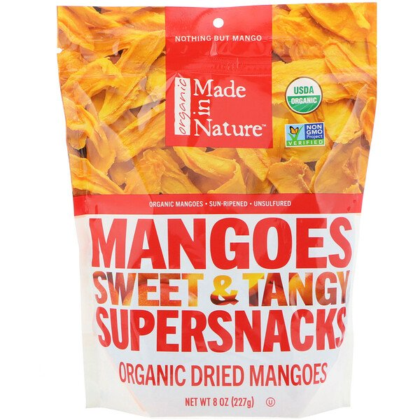 Organic Dried Mangoes, Sweet & Tangy Supersnacks, 8 oz (227 g)