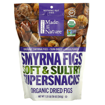 Made in Nature Organic Dried Smyrna Figs, Soft & Sultry Supersnacks, 20 oz (567 g)