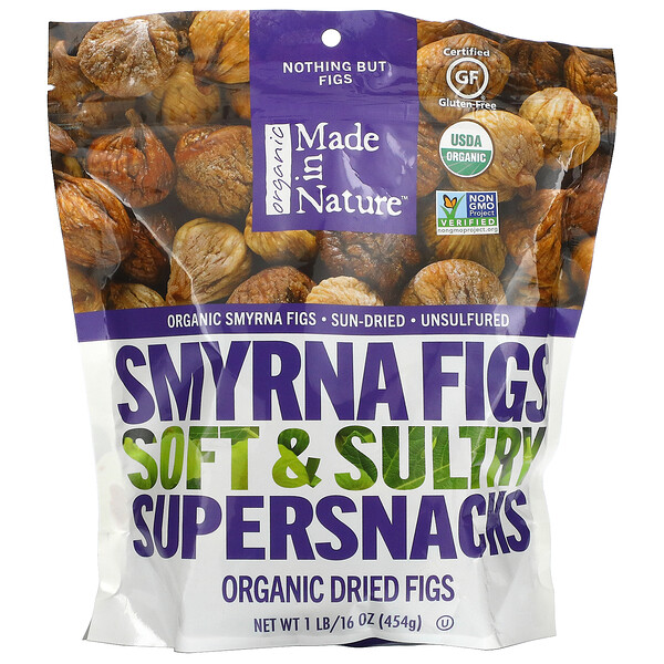 Organic Dried Smyrna Figs, Soft & Sultry Supersnacks, 1 lb (454 g)