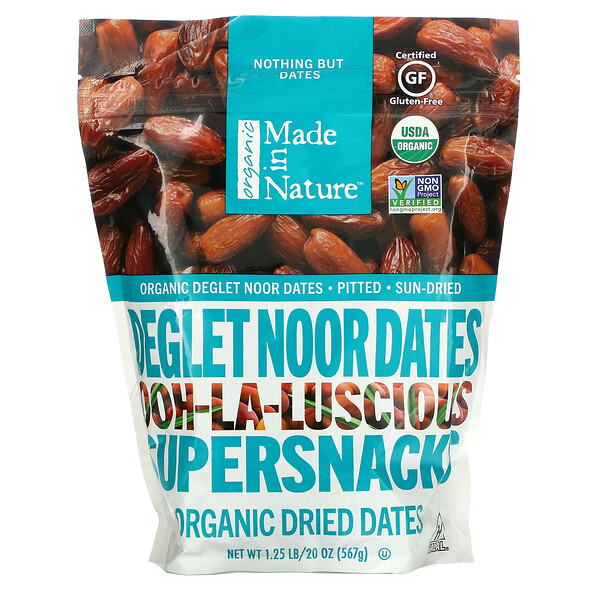 Made in Nature, Organic Dried Deglet Noor Dates, Ooh-La-Luscious Supernacks, 20 oz (567 g)